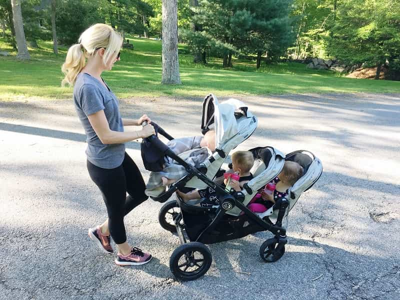 three kids stroller